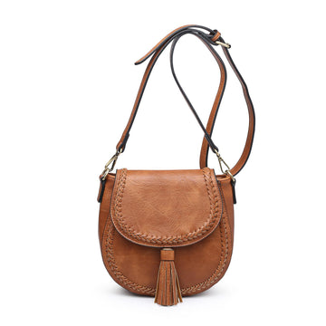 Brown Braided Detail Crossbody with Tassel