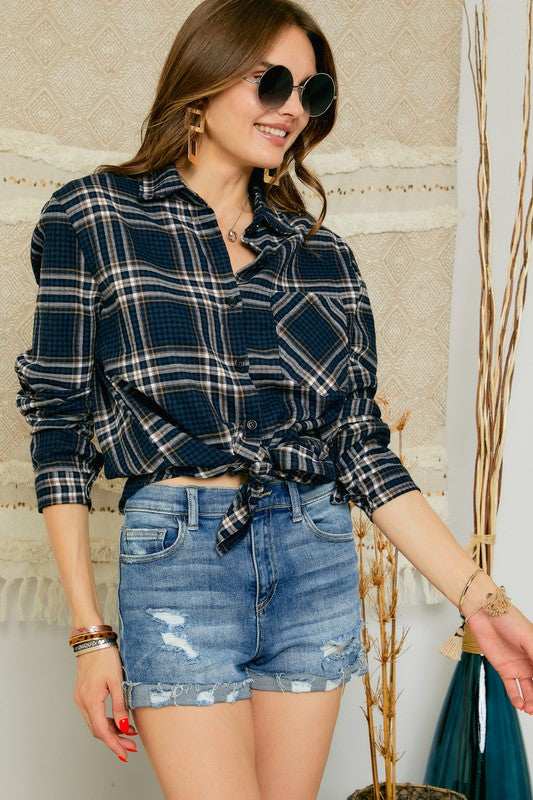 Blue Plaid Flannel Button Up Top with Pocket