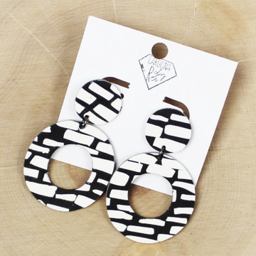 Abstract Black and White Open Circle Dangle Handmade Clay Earrings