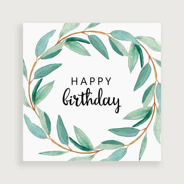 Olive Wreath Happy Birthday Greeting Card