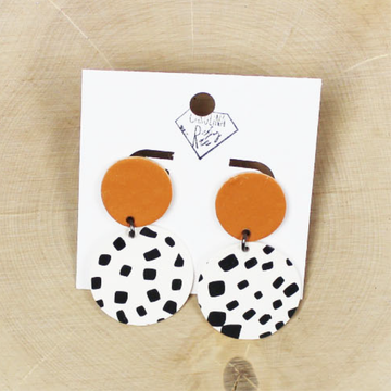 Dalmatian and Burnt Orange Dangle Handmade Clay Earrings