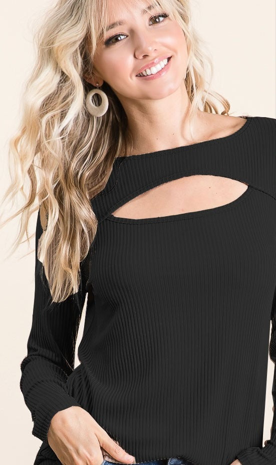 Black Soft Touch Rib Knit Long Sleeve Top with Neck Cutout