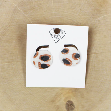 Taupe and Ivory Leopard Studs Handmade Clay Earrings