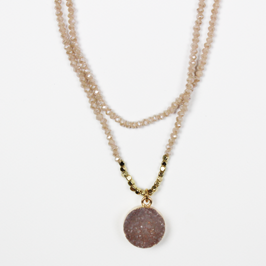Gold and Grey Beaded Druzy Necklace