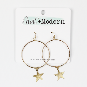 Satin Gold Star Hoop Earrings