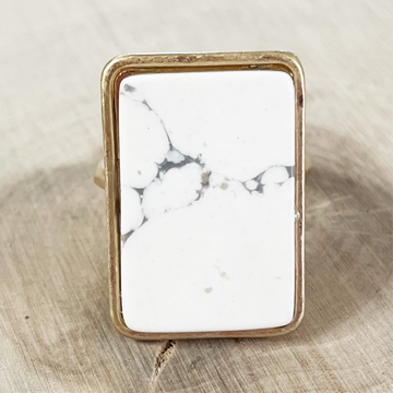 Gold & Howlite Rectangle Stone Adjustable Ring