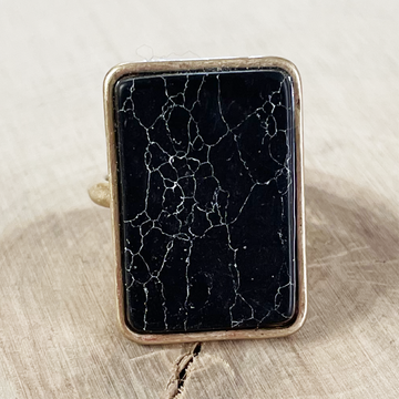 Gold & Jet Howlite Rectangle Stone Adjustable Ring