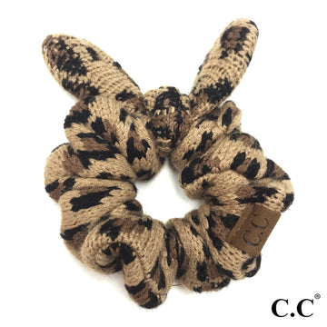 Latte CC Leopard Top Knot Bow Scrunchie
