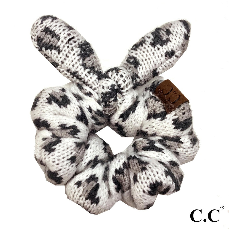 Ivory CC Leopard Top Knot Bow Scrunchie