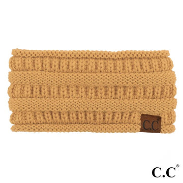 Camel Solid Ribbed Knit CC Ponytail Headband
