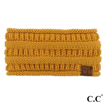 Mustard Solid Ribbed Knit CC Ponytail Headband