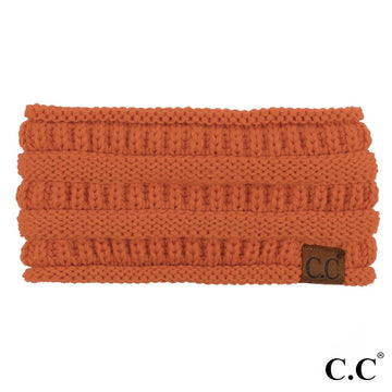 Rust Solid Ribbed Knit CC Ponytail Headband