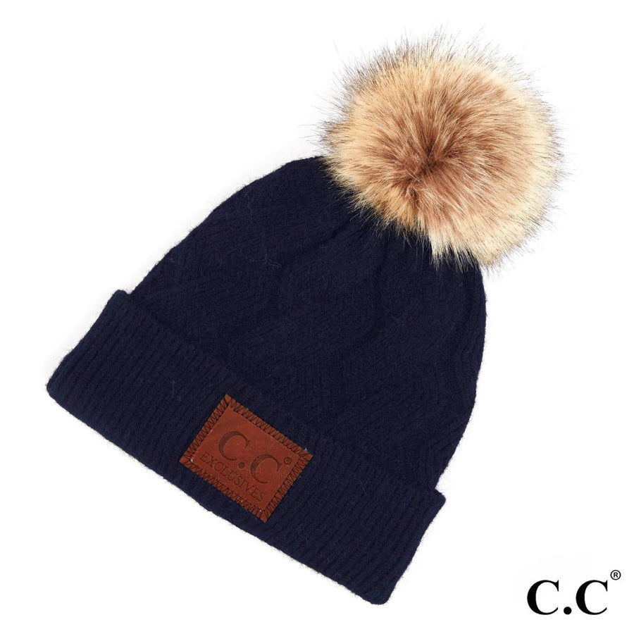 Navy Geometric Cable CC Beanie with Faux Fur Pom