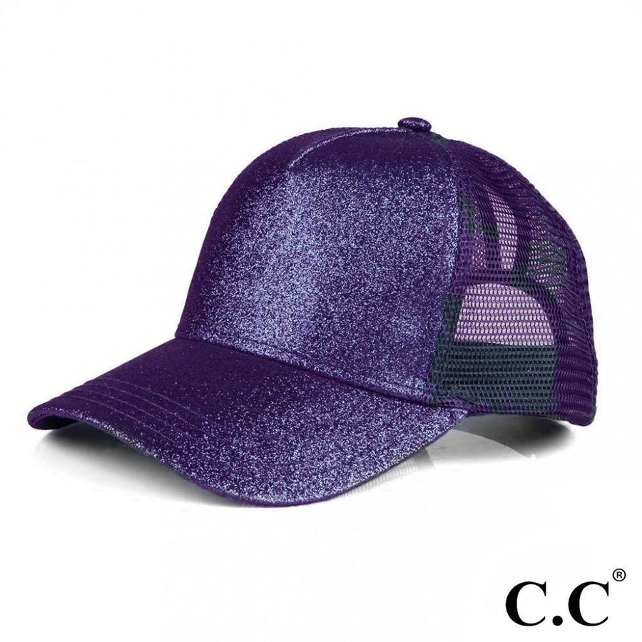 Purple CC Glitter Trucker Ponytail Ball Cap