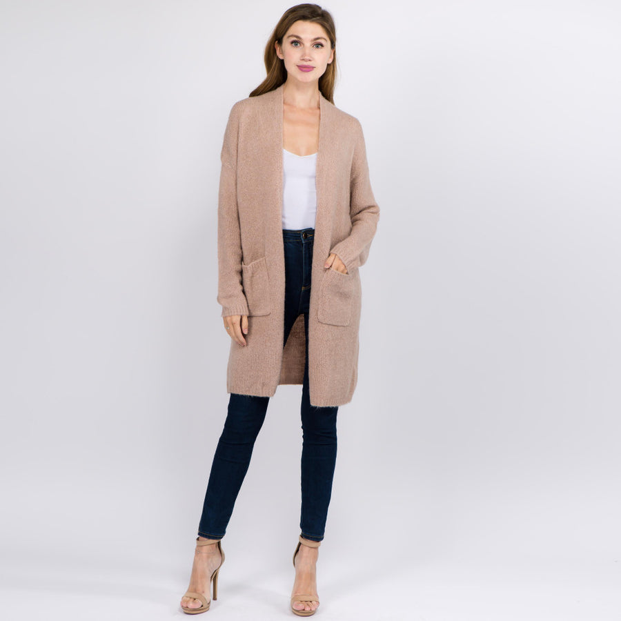Beige Solid Color Thin Knit Cardigan with Pockets