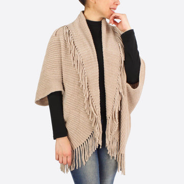 Taupe Chenille Vest with Tassel Trim
