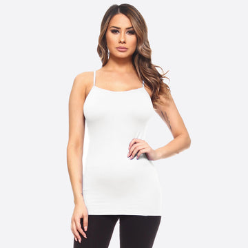 Solid White Seamless Camisole Tank Top OS
