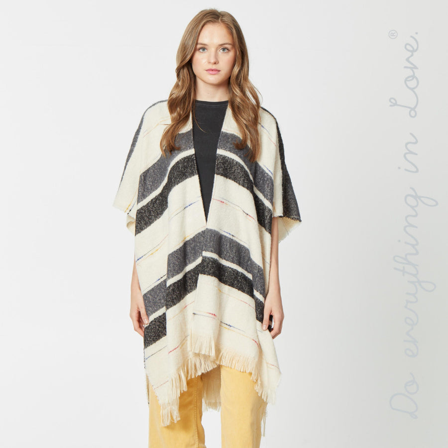 Black Soft Knit Stripe Kimono with Fringe
