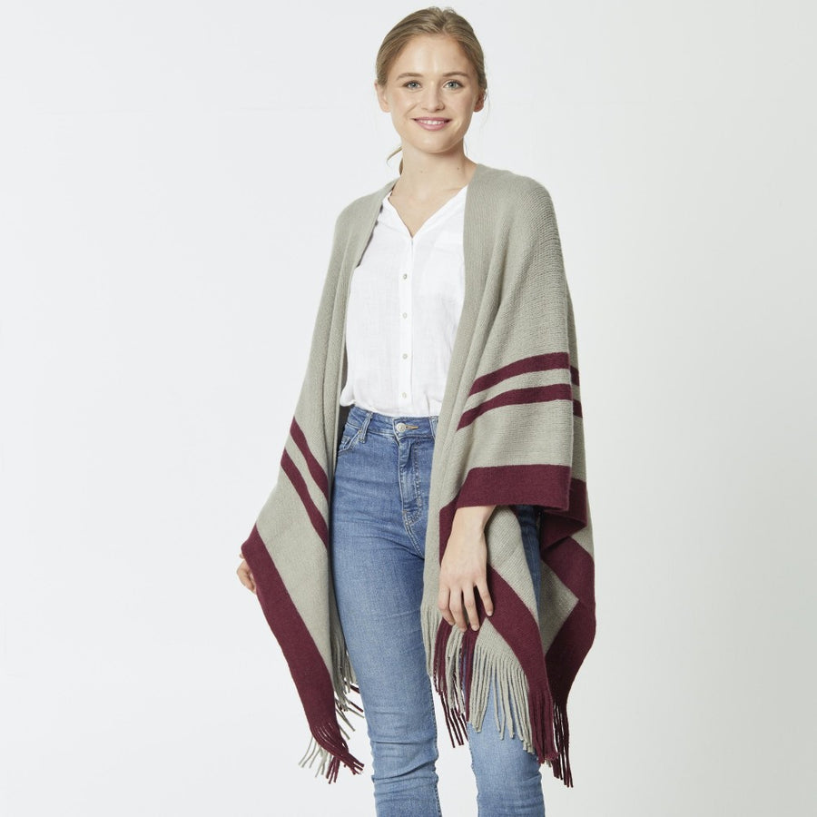 Burgundy Striped Border Ruana with Fringe
