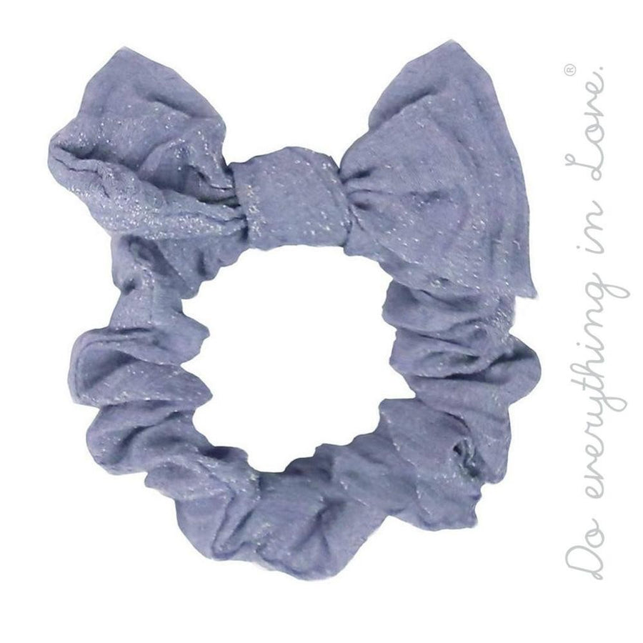 Blue Solid Color Wrinkle Knotted Bow Scrunchie