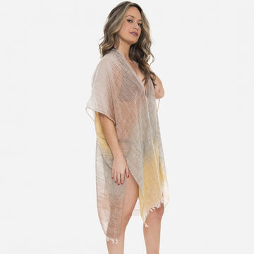 Beige Lightweight Sheer Brushed Stripe Kimono with Frayed Edges