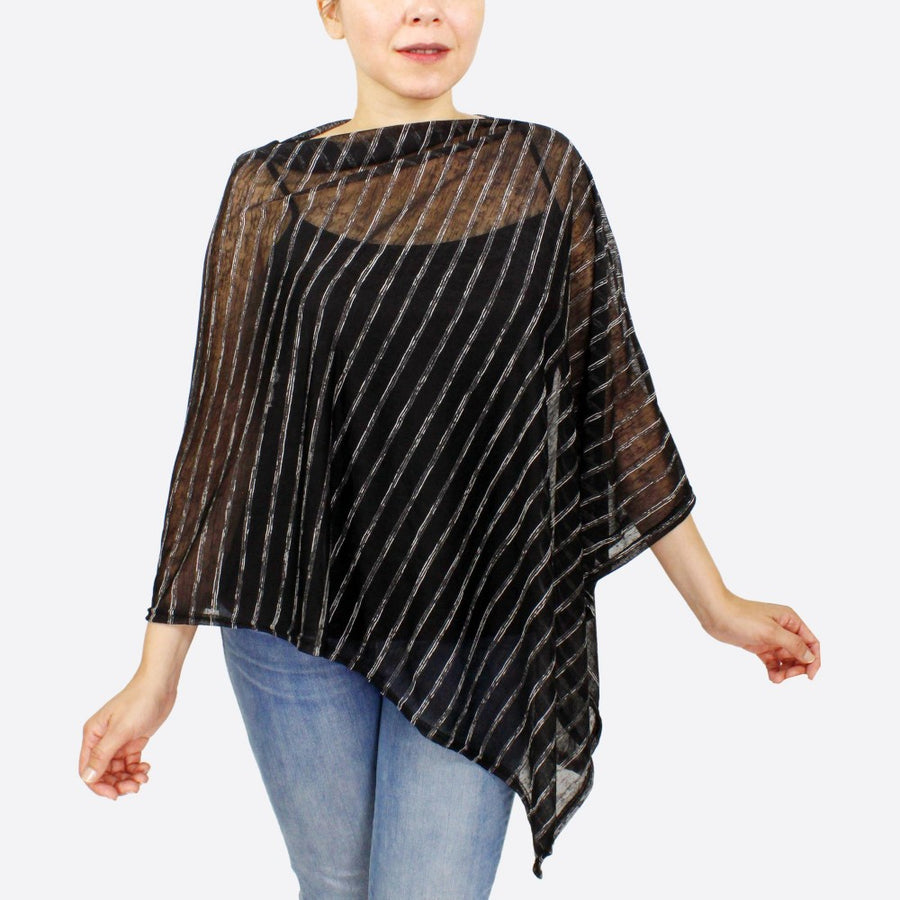 Black Lightweight Sheer Stripe Poncho
