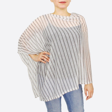 White Lightweight Sheer Stripe Poncho