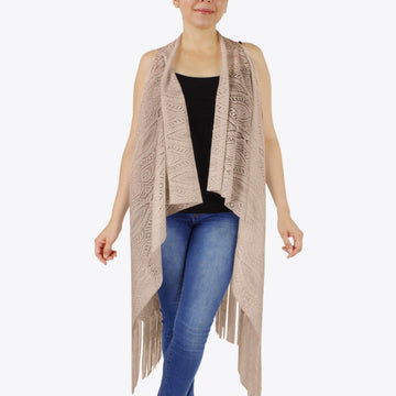 Taupe Lightweight Lace Vest Kimono with Fringe Tassels