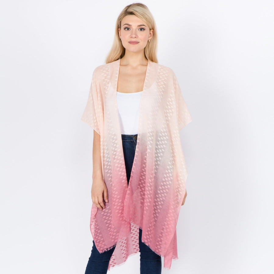 Pink Lightweight Sheer Ombre Kimono