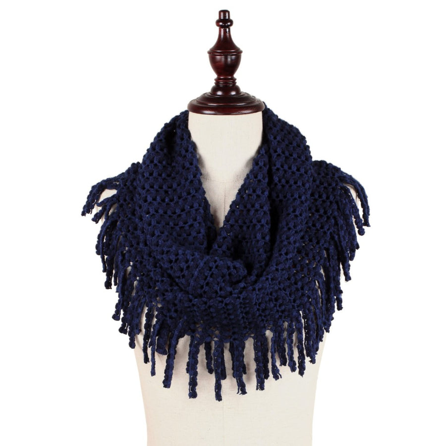 Navy Solid Color Tube Scarf with Fringe