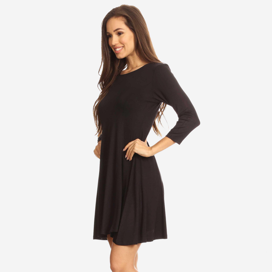 Black Scoop Neck 3/4 Sleeve Dress