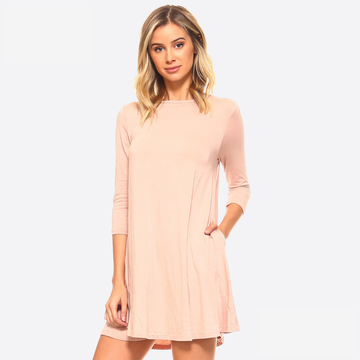 Camel (Dusty Pink) Rounded Neck 3/4 Sleeve Dress with Pockets