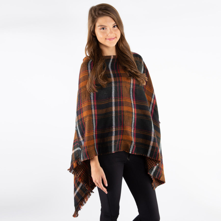 Green Plaid Poncho with Frayed Edges