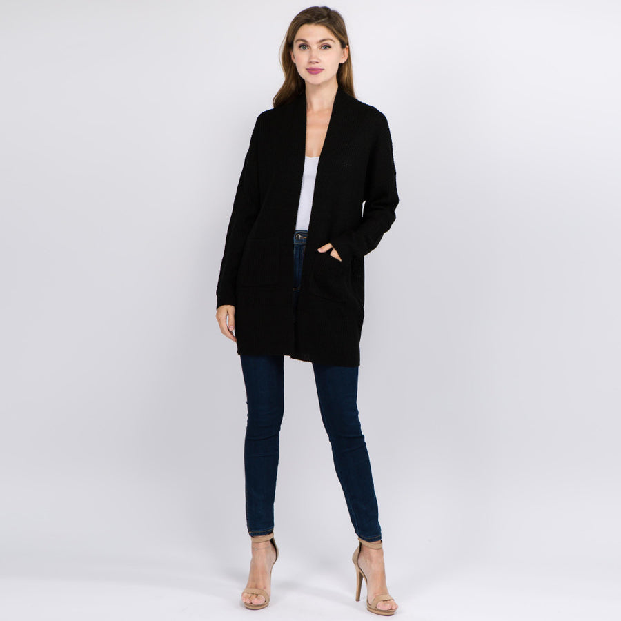 Black Solid Color Knit Cardigan with Front Pockets