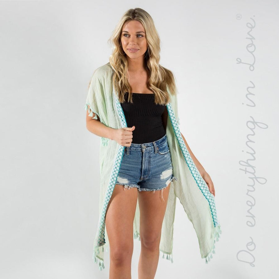 Mint Lightweight Checkered Kimono with Tassel Trim