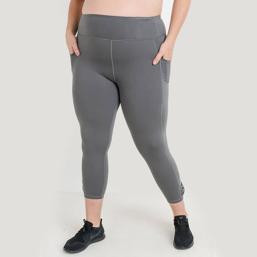 Medium Grey Plus Size High Waist Full Leggings with Bow Accent