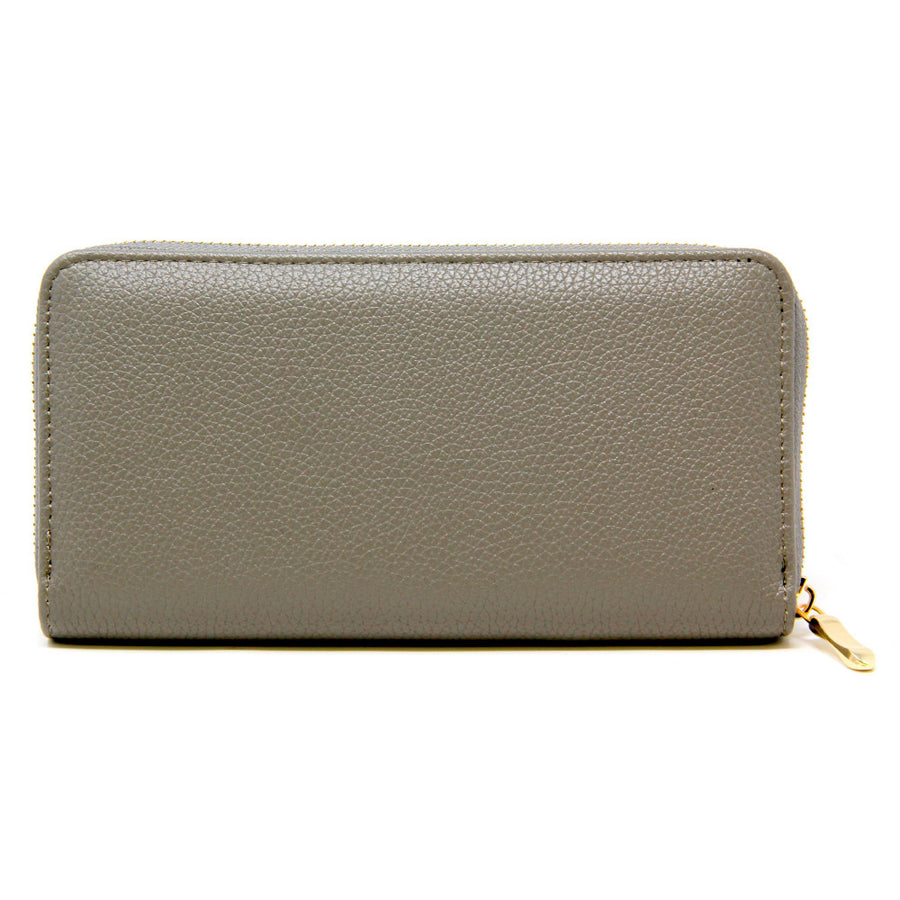Grey Solid Color Faux Leather Wallet