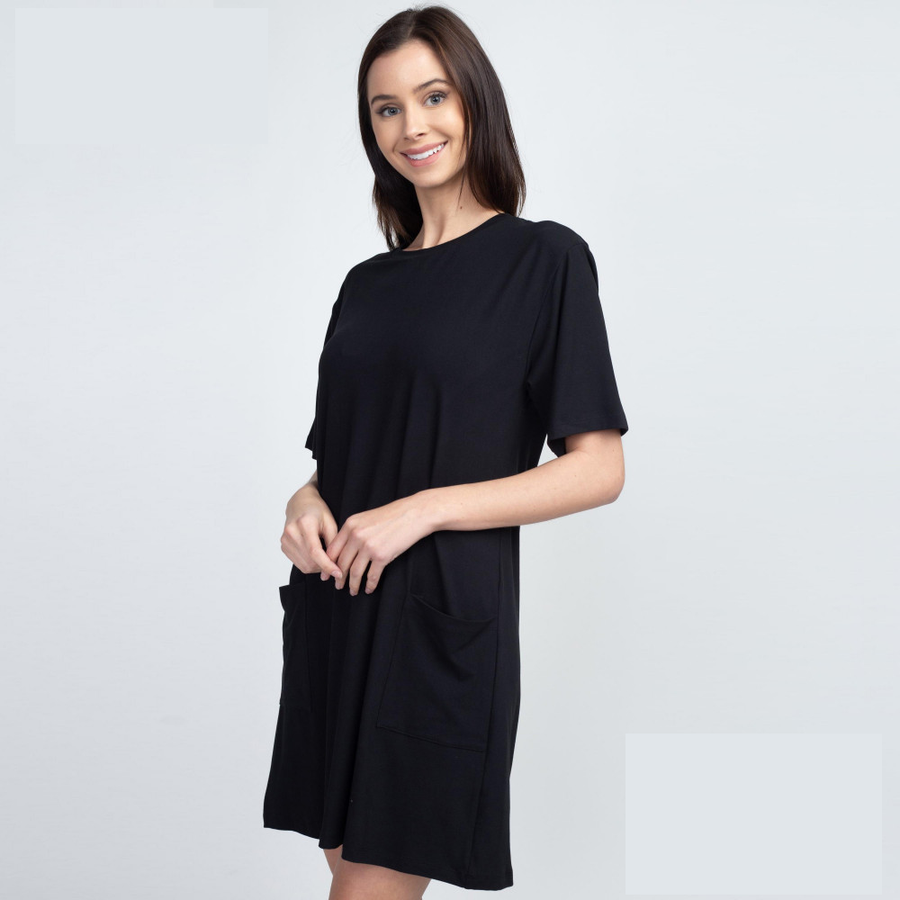 Solid Black Half Sleeve Dress with Front Pockets
