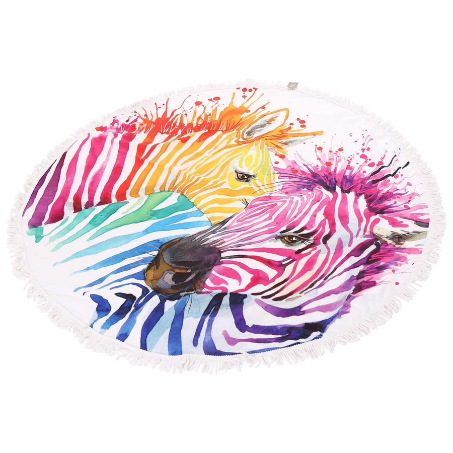 Multicolor Zebra Print Fringe Luxury Round Beach Towel
