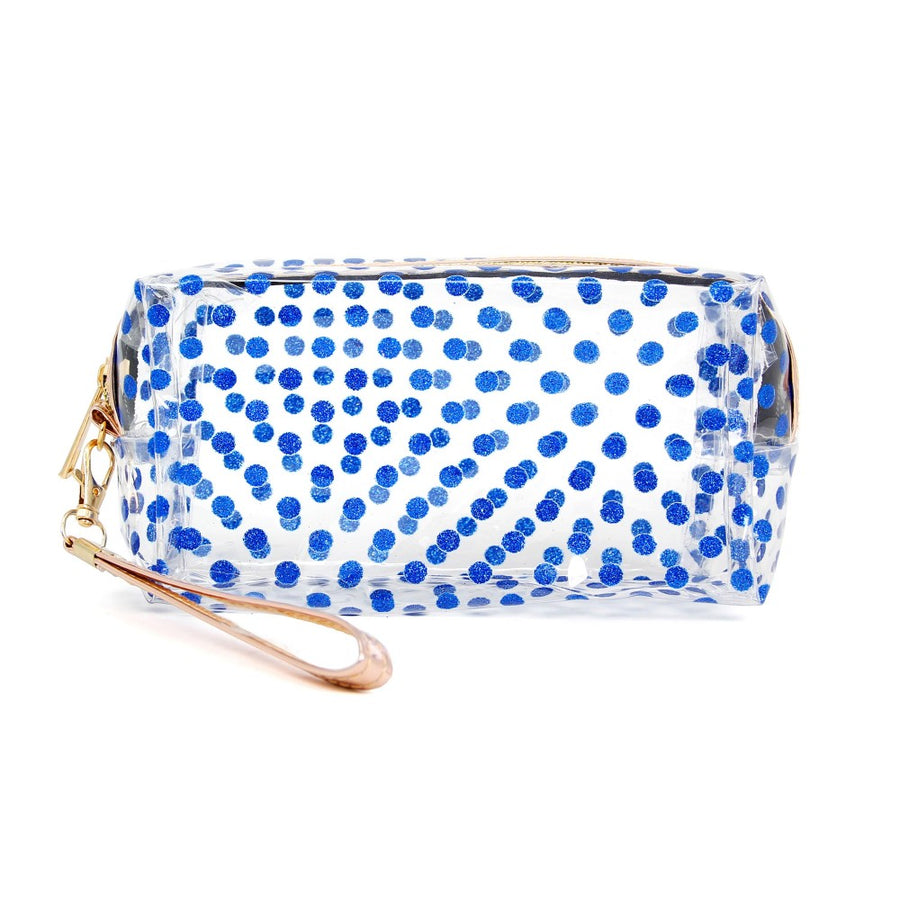 Blue Clear Glitter Polka Dot Travel Pouch with Wristlet