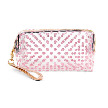 Pink Clear Glitter Polka Dot Travel Pouch with Wristlet