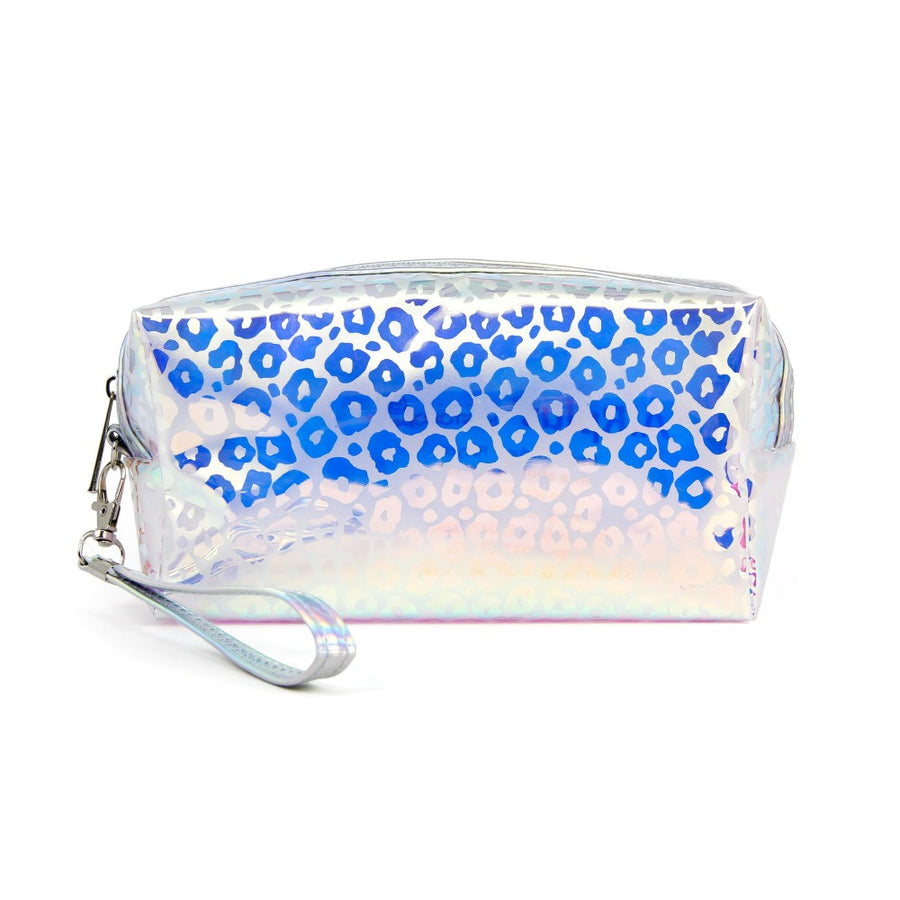 Iridescent Leopard Print Travel Pouch with Wristlet