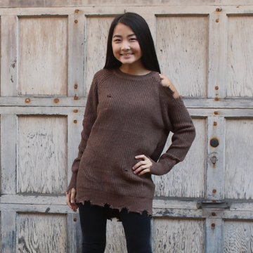 Mocha Latte Cutout Shoulder Sweater Top