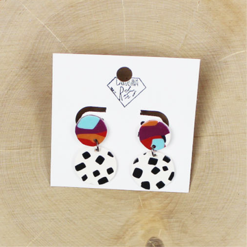 Abstract Dalmatian Dangle Handmade Clay Earrings