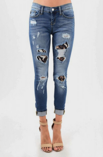 Judy Blue Jeans Soft Stretchy Denim with Leopard Patch Backing