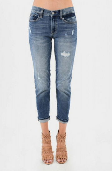 Judy Blue Jeans Stretchy Mid-Rise Boyfriend Jeans
