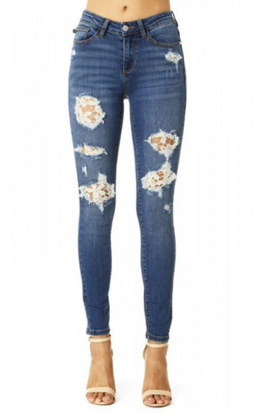 Judy Blue Jeans Lace Patch Destroy Skinny