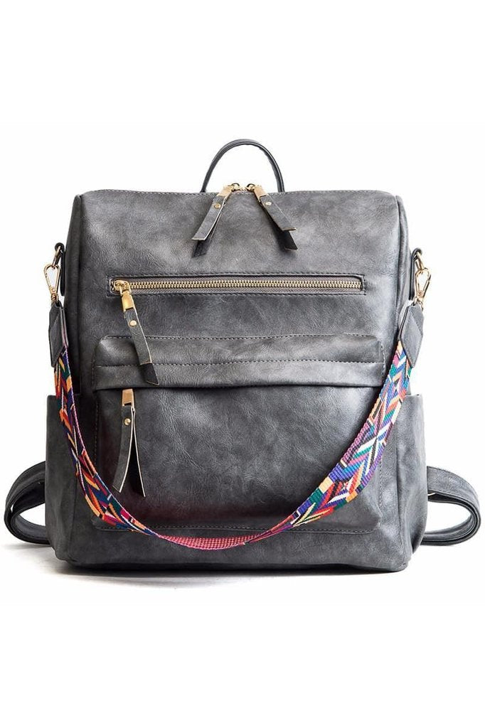Gray Vegan Leather Convertible Backpack Handbag