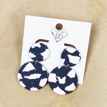 Navy and White Dangle Handmade Clay Earrings