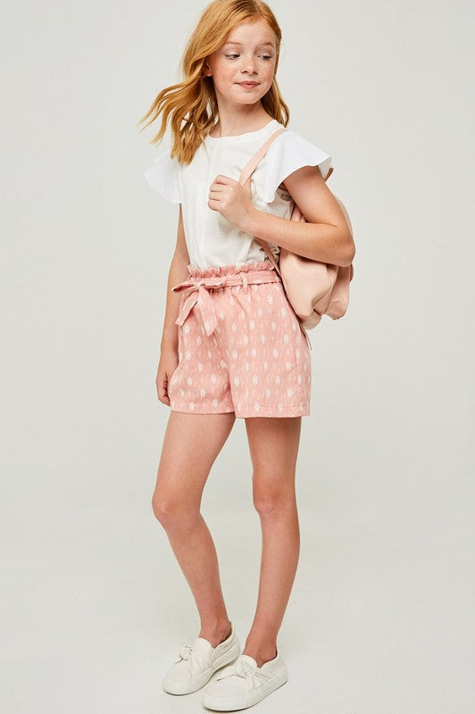 Girls Pink Printed Paperbag Tie Shorts